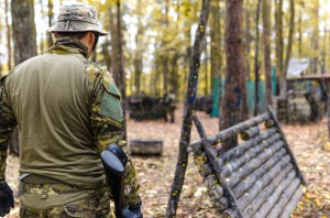 Army soldier in forest